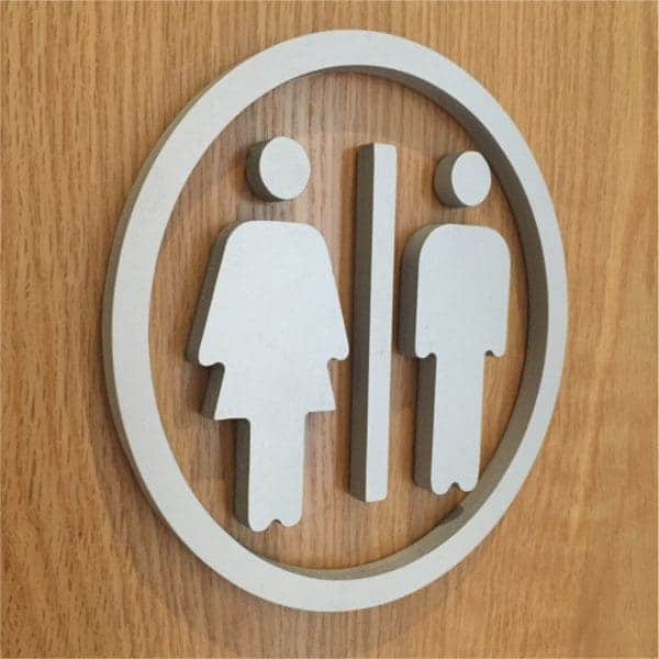 3D signage raised toilet door logo