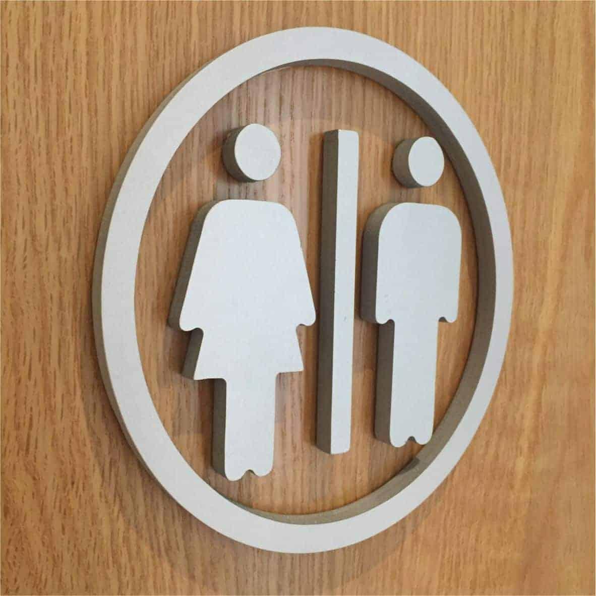 3D signage raised toilet door logo
